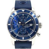 Бесплатная доставка новый SuperOcean Heritage Chrono 46 мм кварцевые часы A13320 синий циферблат и резинка Мужские спортивные наручные часы
