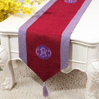 150x33 cm Embroidery Joyous Chinese Cotton Linen Table Runne...