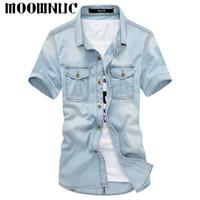 Camicie casual da uomo moda manica corta streetwear streetwear lavato personalità classica hip-hop denim slim fit mwc cowboy stoffa motoowec estate