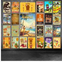 Bienvenue à Hawaii Party Décorations Aloha Tiki Bar Affiche Mur Art Peinture Plaque Restaurant Pub Décor À La Maison En Métal Signes YD033