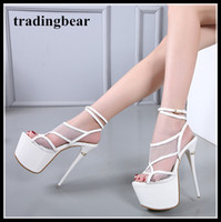 16cm white wedding shoes bride ankel strappy hollow out plat...