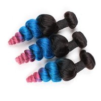 Drei Tone Colored # 1B / Blau / Rosa Ombre Peruanisches Menschliches Haar spinnt 3Pcs Los-lose Wellen-wellenförmige blaue rosafarbene Ombre-Jungfrau-Haar-Bündel-Angebote