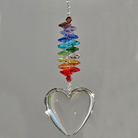 5 sztuk Clear Crystal Glass Chakra Suncatcher Serca Wisiorek Okno Wiszące Kryształy Ornament Miłość Związek Rocznica Prezent W094