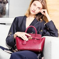 Leather designer luxury Handbags Burgundy Trapeze bag for wo...