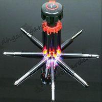 8 أدوات في 1 متعددة الوظائف مفك مجموعة أداة كيت مع 6 LED مصباح يدوي قوي الشحن 6 LED ضوء مجاني الشعلة