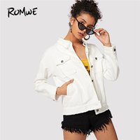 20188 ROMWE Beige Jeans Jacket Donna Solid Pocket tasca frontale giacca da donna  Giacche e cappotti 8cf06ef2237