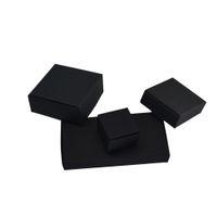 50pcs / lot Pacchetto di regalo di nozze Scatola di carta Kraft nera Scatola di carta di cartone molle pieghevole all'ingrosso Per il pacchetto di candela della drogheria dei monili di Natale