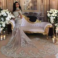 ab3d776c05c Дубай Арабский Роскошные Блестящие 2019 Свадебные Платья Sexy Bling Бисером Кружева  Аппликация Высокая Шея Иллюзия Длинные