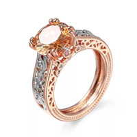 MGFam (226R) Champagne Rings Jewelry For Women Rose with Whi...