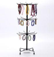 Moda Collar de Metal Pulsera de Cadena Rotación pantalla Holder Soporte de exhibición de la joyería Rack bufandas corbata corbata peluca pulsera Percha envío gratis