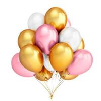 Altın Pembe Beyaz Balonlar 15 adet / grup 12 Inç Şişme Lateks Helyum Balonlar Düğün Mutlu Doğum Günü Partisi Dekorasyon Hava Balonu