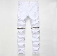 Yüksek Kaliteli Marka Giyim Tasarımcısı Pantolon Yok Mens Slim Denim Şort Düz Biker Skinny Jeans Erkekler Hip Hop Yırtık Kot 28-38