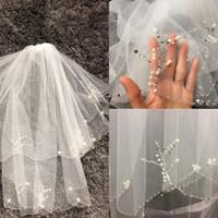 Два слоя тюль короткие свадебные завесы 2019 горячая распродажа дешевая слоновая кость белая свадьба свадебная вуаль для свадебных платьев бусины жемчуга сетка