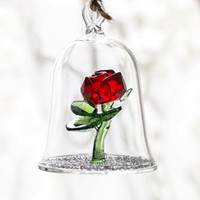 Crystal Enchanted Red Rose Glass Sculpture en Glass Dome Flower Figurine Ornament Lover's Gifts