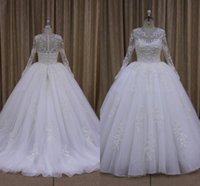 Newest Elegant Applique Tulle Ball Gown Wedding Dresses Jewe...
