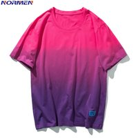 NORMEN Men' s Fashion Gradient T- shirt 100% Cotton Short...