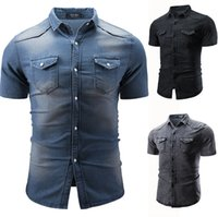 Men Denim Shirts Short Sleeve Slim Fit Turn Down Collar Shir...