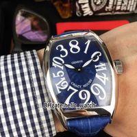 Новые сумасшедшие часы 8880 CH синий циферблат азиатские 2813 автоматические мужские часы серебряный чехол синий кожаный ремешок дешевый 8style Gents часы