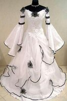 Vintage Black and White Gothic Prom Dress Scoop Off the Shou...