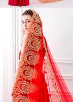 Koreański styl prosta panna młoda welon 3 metry długie rosnąć ogon eleganckie chińskie czerwone miękkie netto księżniczki welon ślubny