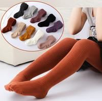 Güz Çocuklar Sıkı Kızlar Dikey Şerit Tayt Tayt Çocuk Pamuk Örme Tayt Kız Dans Çorap Külotlu Çorap F0208