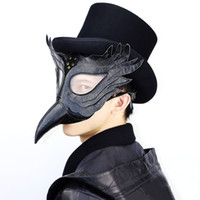 Party Masks Black PU Leather Plague Doctor Steampunk Mask Wo...