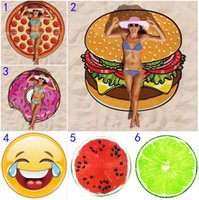 18 Style Hamburger watermelon Emoji Round Beach Towel Bohemi...