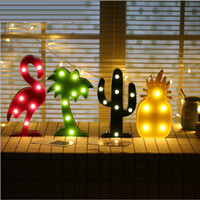Cute Flamingo Led Night Light Marquee Sign Pineapple Cactus ...