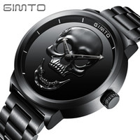 GIMTO Cool Skull Mens Quartz Watch Luxury Top Brand Stainles...