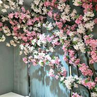 Sakura Flor de cerezo Rota Arco de la boda Fiesta en casa Decoración del hotel DIY Lila Vine Flores artificiales Hiedra de seda colgando en la pared Guirnalda Guirnalda