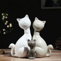 Minimaliste céramique chanceux chat famille décor à la maison artisanat chambre décoration porcelaine figurine animale maneki neko décoration de mariage