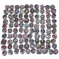 حجر الراين أزرار معدنية لون الفرق تصميم عشوائي مختلط لون المفاجئة زر سوار مجوهرات 18mm المفاجئة والمجوهرات