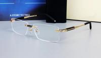 0349 تصميم العلامة التجارية بدون إطار نظارات النظارات على نطاق واسع للرجال ساحة النظارات إطارات التيتانيوم النظارات عدسة وصفة طبية الإطار البصرية النظارات MB