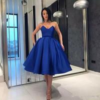 Trendy Royal Blue Robes manches chérie de bal Robes Taille Plus courte robe de bal cocktail Tenue Zipper Retour