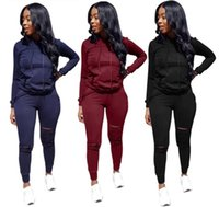 Women ripped Hoodies sweat suit Two Piece set Outfits Print ...
