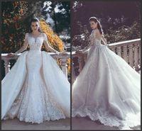 2019 vestidos de casamento New Backless Mermaid Lace com trem destacável Mergulhando Neck mangas Beaded Tulle Overskirt Dubai vestidos de noiva árabe