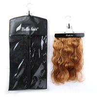 Bellahair Portátil Extensiones de cabello Percha y polvo Funda a prueba de polvo para paquetes de pelo y extensiones de cabello Almacenamiento Color negro