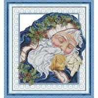 Le Santa Claus Canvas Intoxiqué DMC 11ct 14ct compté Chinois Point De Croix Kits imprimé Point De Croix pour Broderie Home Decor Needlework