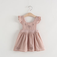 Girls suspender skirt cute flower embroidery flouncing backl...