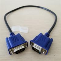 Gros 100pcs / lot VGA Câble D-Sub HD15 Moniteur 15Pin Mâle à Mâle Vidéo Court Câble Cordon Bleu 50cm