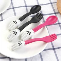 Baby Feeding Fork Spoon Sets Mouse Palm Shape Cutlery Toddle...