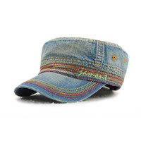 Commercio all ingrosso 5 colori cotone denim piatto top snapbacks unisex  maglia autunno casquette berretto da baseball designer cappelli papà  cappello ... 72426d9d9d20