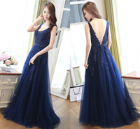 A- Line Evening Dresses Skirt Blue Bead Applique Dignified At...