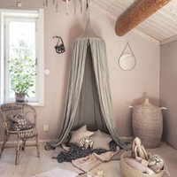 Living Room Kids Bedding Round Dome Bed Canopy Cotton Linen ...