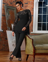 Vintage Negro Encaje Madre de la novia Novio Pantalón Trajes Funda 2018 Nueva Sheer Jewel Cuello Mangas largas Apliques Madre Pantalones formales Viste