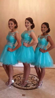 Turquesa Vestidos de Fiesta 2020 Corto Vestido de Fiesta de Baile Una Línea Sin Respaldo Tul Pliegues Perlas Cristales Vestido de Graduación Por Encargo Más Tamaño