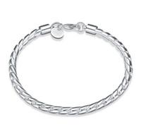 Pulseiras de Prata Banhado 4 MM Torcida Corda Cadeia Meninas Presente Behemian Bangle Bracelet para As Mulheres Venda Quente