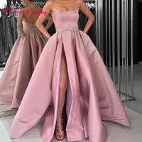 2019 simple pink prom dress Side Split Formal Long Sexy stra...