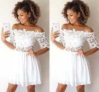 White Short Homecoming Dresses Bateau Neck Off The Shoulder ...