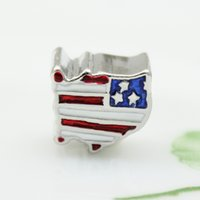 Patriotic Proud To Be American Flag Country Of USA Map national European spacer bead metal charm bracelets Pandora Chamilia Compatible